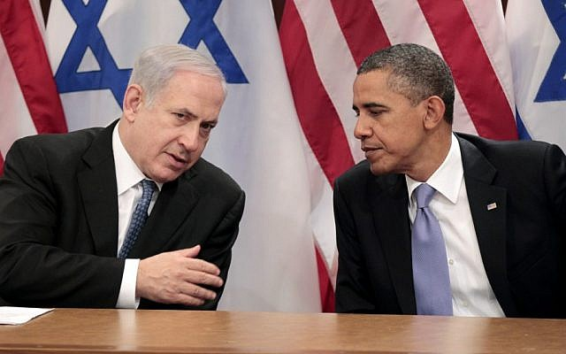 Prime Minister Benjamin Netanyahu and President Barack Obama at the UN,  September 2012 (photo