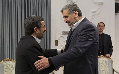 Head of the Palestinian Islamic Jihad Ramadan Abdullah Shallah meets with Iranian President Mahmoud Ahmadinejad in Tehran in February (photo credit: AP Photo/ Ebrahim Seyyedi Office of the Iranian President)
