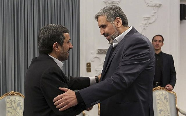 Ramadan Abdullah Shalah (right), head of Palestinian Islamic Jihad,  meets with former Iranian President Mahmoud Ahmadinejad in Tehran, February 2007 (AP/ Ebrahim Seyyedi Office of the Iranian President)