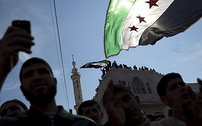 Anti-government protests in northern Syria, March 2, 2012 (photo credit: AP Photo/Rodrigo Abd)