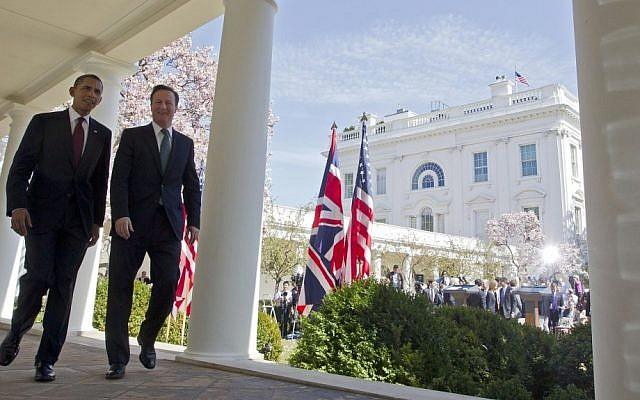 President Barack Obama, left, and British Prime Minister David Cameron at the White House, March 2012 (photo credit: AP/Pablo Martinez Monsivais)
