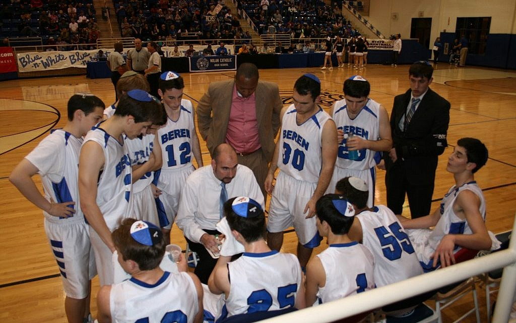 Beren coach Chris Cole instructing his players during a timeout at the championship game, March 3, 2012. (Photo credit: Samantha Steinberg/JTA)