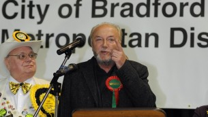George Galloway, a member of the minority Respect Party, speaks after winning the Bradford West seat in March 2012 (photo credit: AP/PA, Anna Gowthorpe)