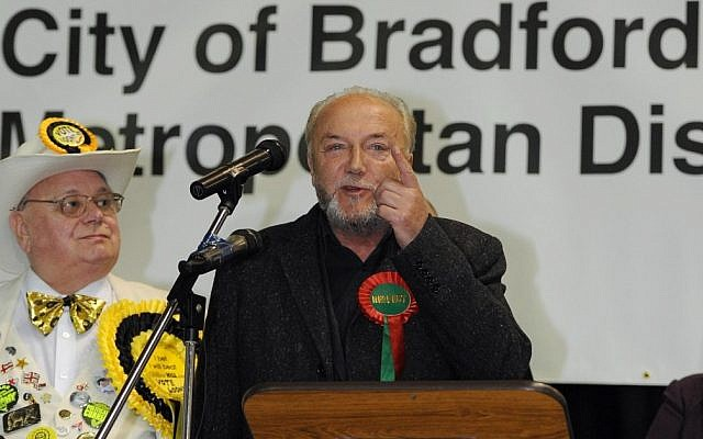 George Galloway, a member of the minority Respect Party, speaks after winning his former Bradford West seat in March 2012 (photo credit: AP/PA, Anna Gowthorpe)