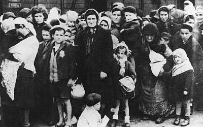 Jews being deported to Auschwitz concentration camp in Poland during World War II (photo credit: CC-BY-SA Ernst Hofmann or Bernhard Walte, Deutsches Bundesarchiv Bild 183-N0827-318)