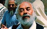 Rabbi Shlomo Carlebach during a visit to the Western Wall in Jerusalem, early 1990s. (Shlomo Carlebach Legacy Trust)