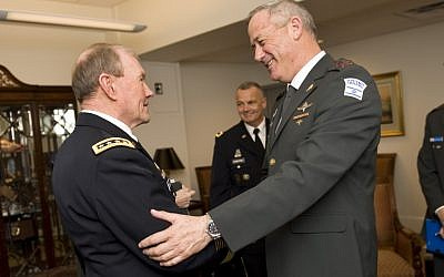 Chief of Staff Maj. Gen. Benny Gantz and US Chairman of the Joint Chiefs Gen. Martin Dempsey, March 2012. (photo credit: IDF Spokesperson)