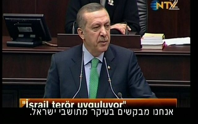 An image capture of Turkish Prime Minister Recep Tayyip Erdoğan speaking before the Turkish parliament in March. (photo credit: Channel 2)