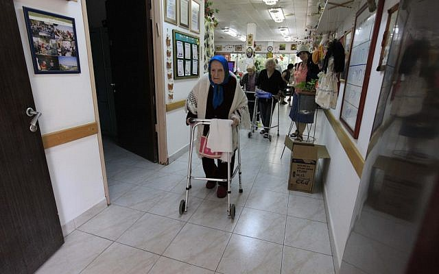 Elderly residents of a nursing home (illustrative photo; credit: Tsafrir Abayov/Flash90)