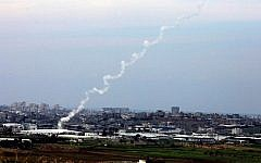Illustrative photo of rocket fire from the Gaza Strip (photo credit: Edi Israel/Flash90/File)