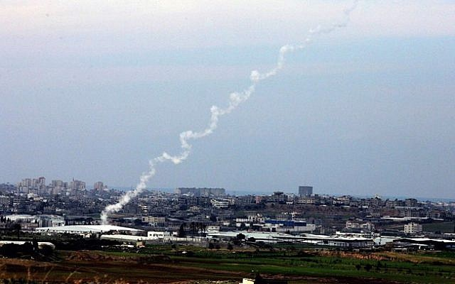 Illustrative photo of rocket fire from the Gaza Strip (photo credit: Edi Israel/Flash90/File)