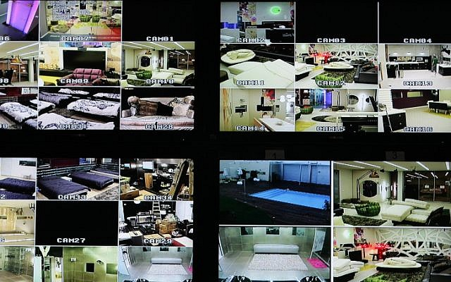 "A control room full of screens monitoring the house of the TV show ""The Big Brother"". A former contestant is suing the production company of the show over pills he was given during the show  (photo credit: Kobi Gideon / FLASH90)"
