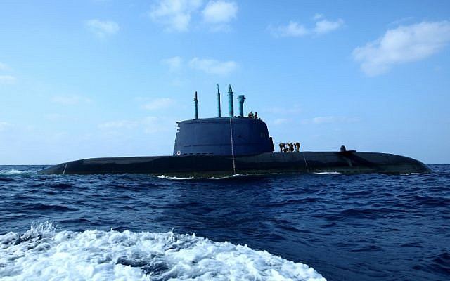 Illustrative: An Israeli Navy Dolphin class submarine, which foreign press reports have claims is capable of launching nuclear weapons, sails off the coast of Haifa. (Moshe Shai/Flash90)