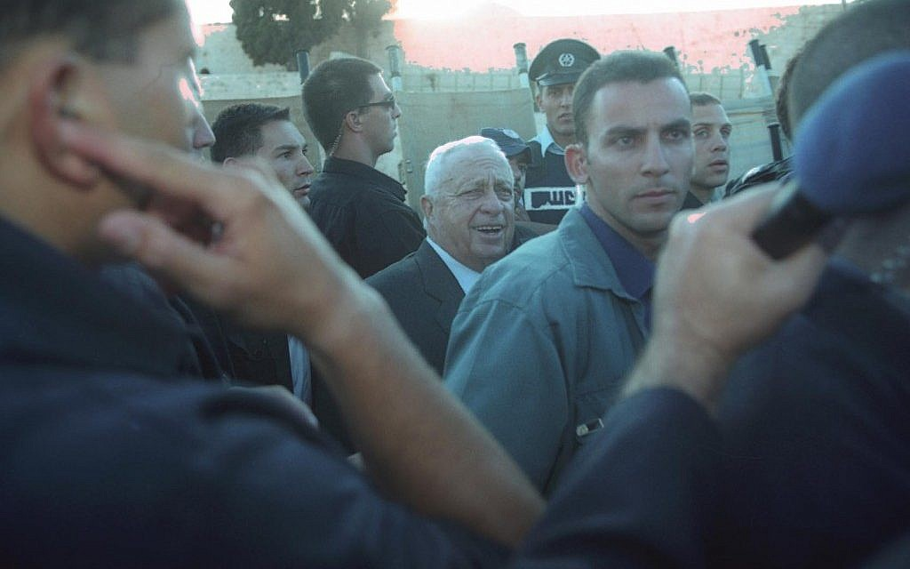 Ariel Sharon on the Temple Mount, September 28, 2000 (photo credit: Flash90)