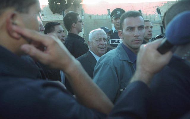 Ariel Sharon on the Temple Mount (photo credit: Flash90)
