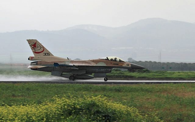 An Israeli F-16 of the 117th Squadron takes off at Ramat David Airbase. (Ofer Zidon/Flash90)