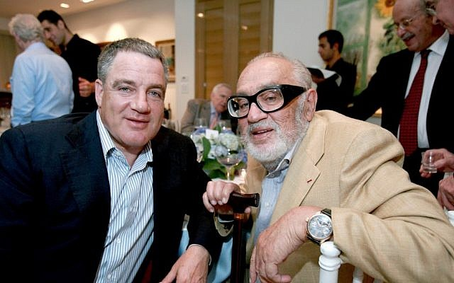 Israel's richest man, Idan Ofer, with his late father, Sammy Ofer (photo credit: Moshe Shai/Flash90)
