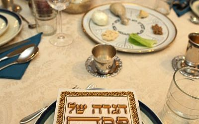 A traditional Passover Seder table (photo credit: Flash90/File)