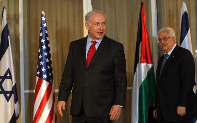 Prime Minister Benjamin Netanyahu and PA President Mahmoud Abbas (photo credit: Kobi Gideon/Flash90)