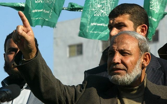 Mahmoud al-Zahar attends a demonstration in Khan Yunis in 2012. (photo credit: Abed Rahim Khatib / Flash 90)