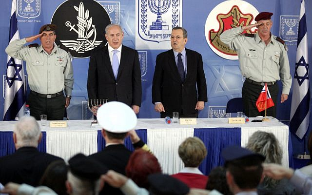 (left to right) Lt. Gen. Ashkenazi, Prime Minister Netanyahu and Defense Minister Barak at the swearing-in of current IDF Chief of Staff Lt. Gen. Benny Gantz (photo credit: Abir Sultan: Flash90)