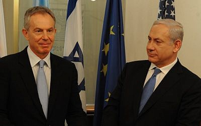 Prime Minister Benjamin Netanyahu with Middle East Quartet Envoy and former British prime minister Tony Blair in Jerusalem, in February 2012 (photo credit: Moshe Milner/GPO/Flash90)