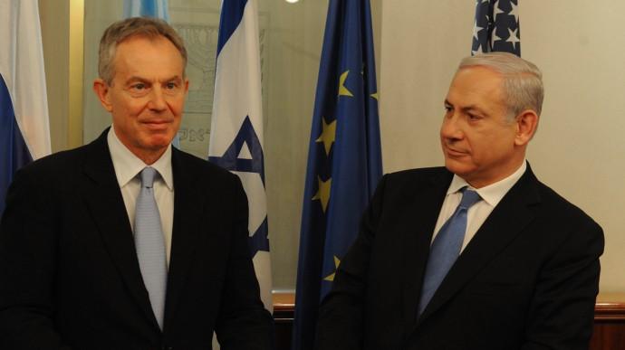 Prime Minister Benjamin Netanyahu with Middle East Quartet Envoy and former British prime minister Tony Blair in Jerusalem, in February (photo credit: Moshe Milner/GPO/Flash90)