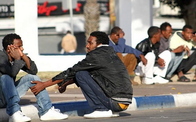 Illustrative image of African migrants in south Tel Aviv (Nicky Kelvin/Flash90/File)