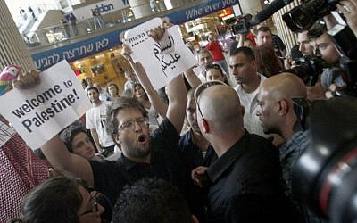 Israeli activists welcome pro-Palestinian 'fly-in' participants at Ben Gurion Airport last year. (photo credit: Flash90)