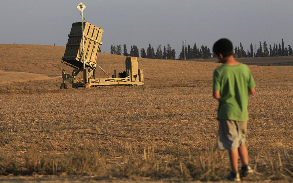 An Iron Dome launcher deployed next to Ashkelon (photo credit: Tsafrir Abayov/Flash90 )