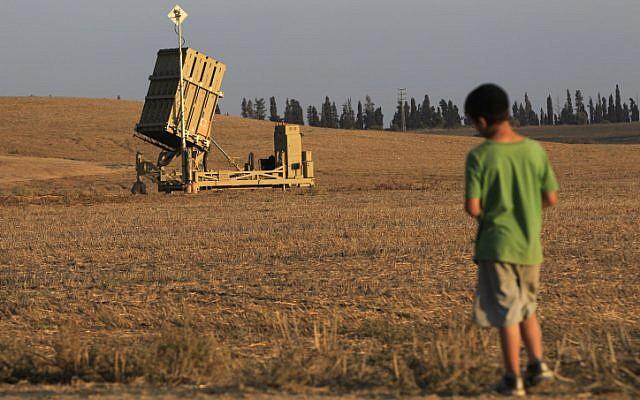 An Iron Dome launcher deployed next to Ashkelon (photo credit: Tsafrir Abayov/Flash90 )