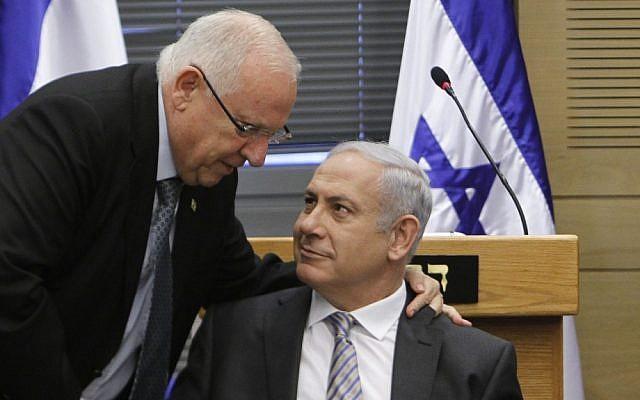 MK Reuven Rivlin, left, with Prime Minister Benjamin Netanyahu (photo credit: Miriam Alster/Flash90)