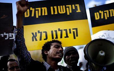 A demonstration in Tel Aviv against planned deportations to South Sudan (photo credit: Dima Vazinovich/Flash90)