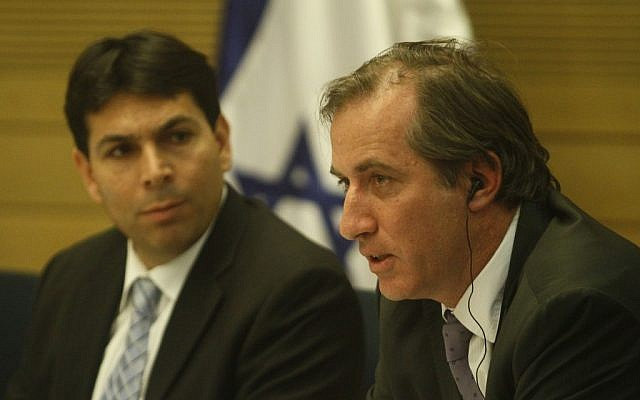 France's ambassador to Israel Christophe Bigot, with MK Danny Danon, in the Knesset in January. (photo credit: Uri Lenz/Flash90)