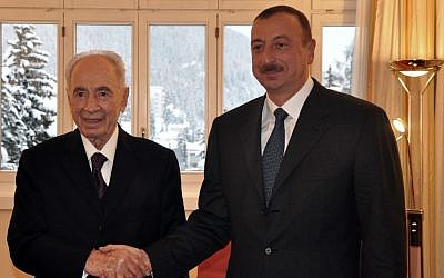 President Shimon Peres meets with Azerbaijan's President Ilham Aliyev at the World Economic Forum in Davos, Switzerland, in January, 2012. (photo credit: Flash90)