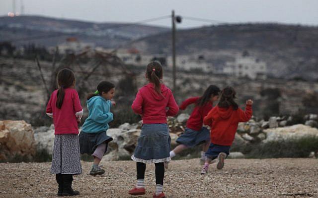Girls playing in Migron (photo credit: Kobi Gideon/Flash90)