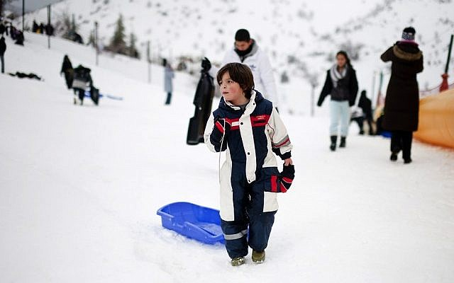 Sledding at the Mount Hermon ski resort (photo credit: Dima Vazinovich/Flash90)