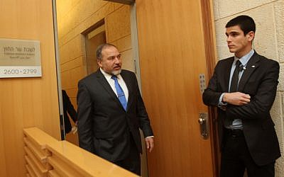 Avigdor Liberman at the Foreign Ministry (photo credit: Miriam Alster/Flash90)