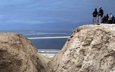 An illustrative photo of hikers overlooking the Dead Sea  (photo credit: Yossi Zamir/Flash90)