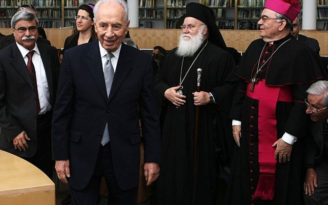 Israeli president Shimon Peres with Christian religious leaders in the north of Israel (photo credit: Kobi Gideon/Flash90)