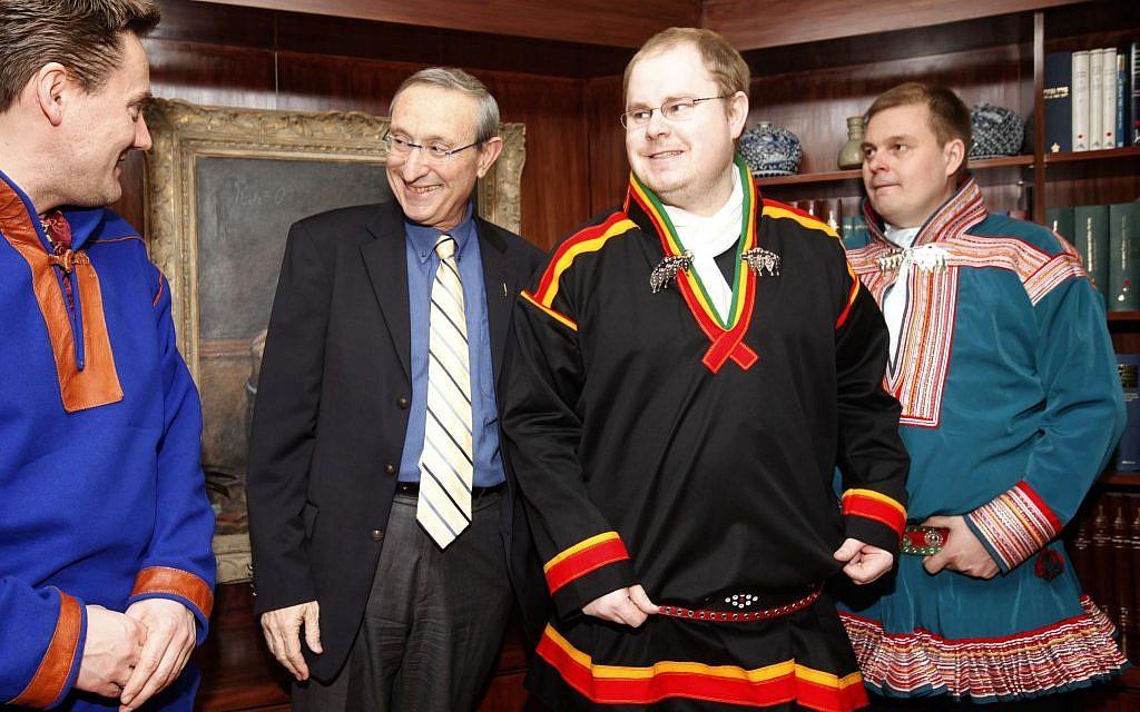 Hebrew University President Menahem Ben Sasson meeting with Norwegian Sami from Lapland in traditional dress. (photo credit: Miriam Alster/Flash90)