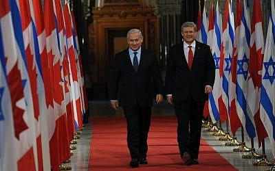 Prime Minister Benjamin Netanyahu with his Canadian counterpart, Stephen Harper, in Ottawa, in March (photo credit:  Ben Gershom/GPO/Flash90)