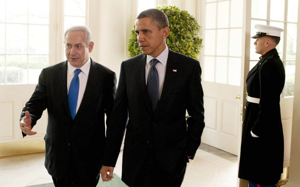 Prime Minister Benjamin Netanyahu with US President Barack Obama in the White House (photo credit: Amos Ben Gershom/GPO/FLASH90)