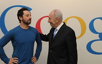 Former President Shimon Peres with Sergei Brin of Google at Google headquarters in Mountain View, California.  (Photo credit: Moshe Milner/ GPO/FLASH90)