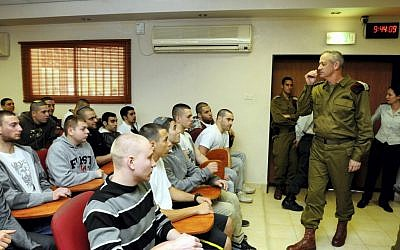 IDF Chief of General Staff Benny Gantz speaks with new recruits to the Kfir Brigade on Tuesday. (photo credit: Yossi Zeliger/Flash90)