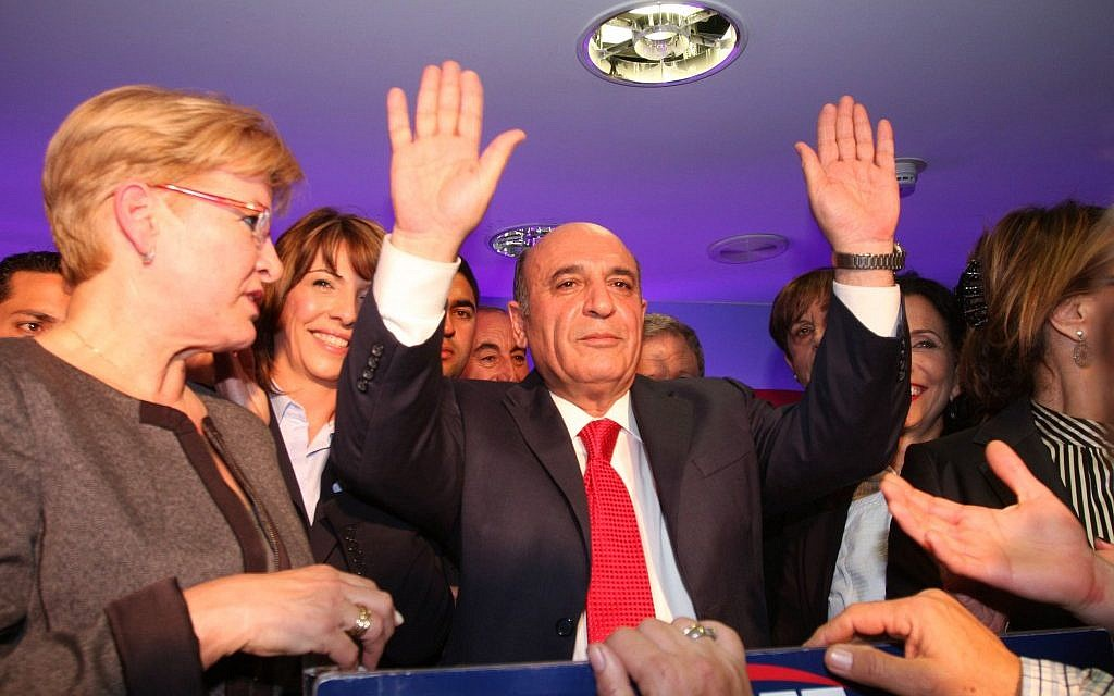 Shaul Mofaz waves to Kadima supporters after they elected him the party's new chairman last month. (photo credit: Roni Schutzer/Flash90)