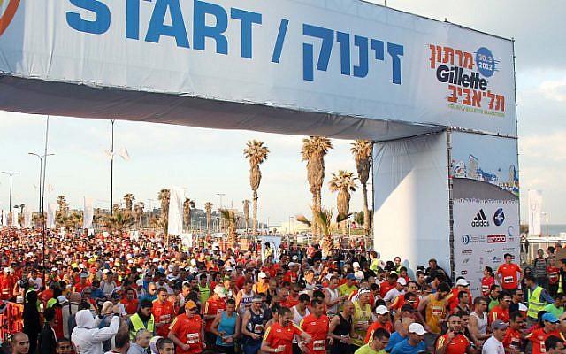 The start of the Tel Aviv Marathon, 2012 (photo credit: Gideon Markowicz/Flash90)