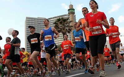 Runners in the Tel Aviv Gillette Marathon, April 2012 (photo credit: Roni Schutzer/Flash 90)