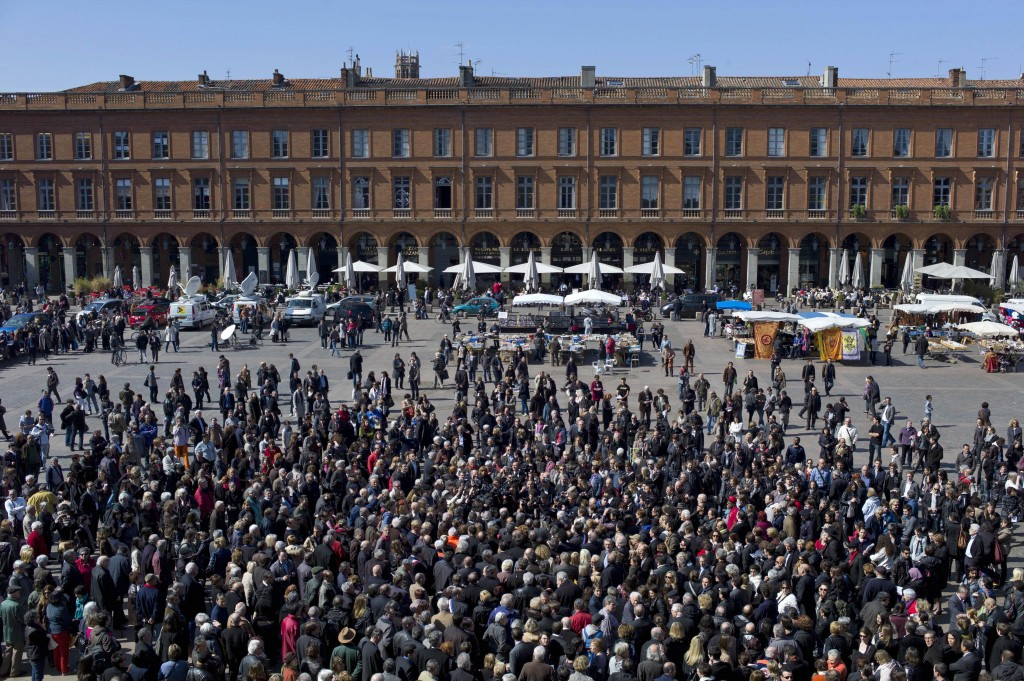 Hundreds gather in Toulouse to pay their respects to the victims of Toulouse terrorist Mohamed Merah (photo credit: AP/Thibault Camus)