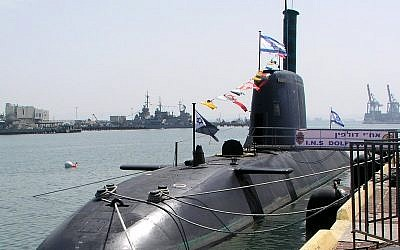 An Israeli Dolphin class submarine at port. (photo credit: CC BY shlomiliss, Wikimedia)